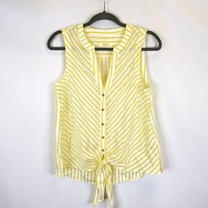 Maeve Yellow and White Sleeveless Blouse NWOT